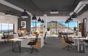 Office interior design and 3D visualization