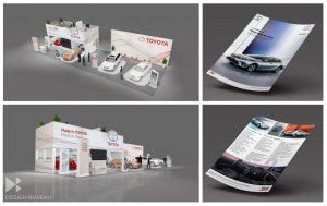 Exhibition stand concept and flyer design for Toyota Mauritius