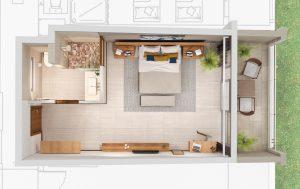 3D Plan of hotel room