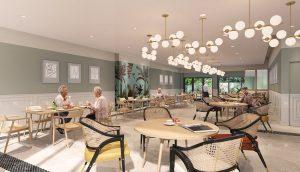Hotel restaurant interior 3D visualization